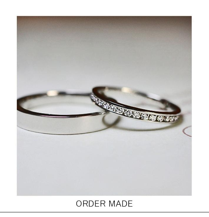 爪のないエタティリング・レールにダイヤモンドを並べた つめの無いエタニティ・結婚指輪のサムネイル