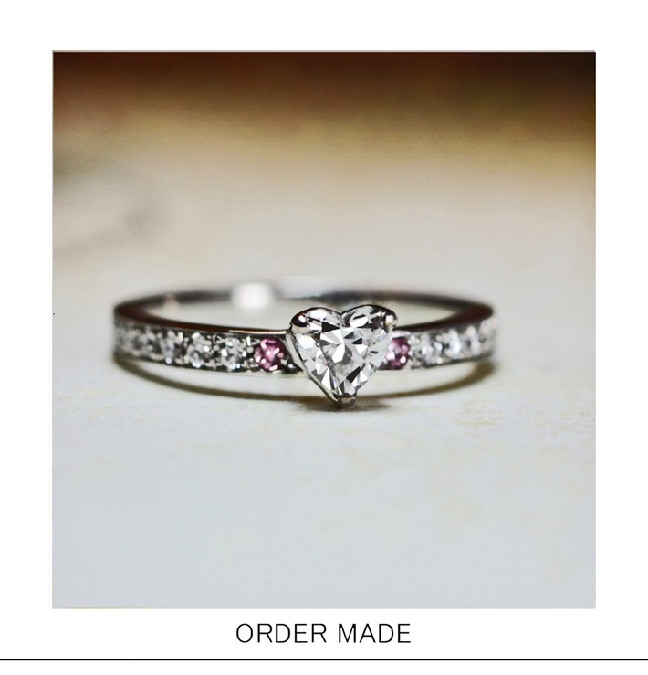 ハートダイヤ&ピンクダイヤのエタニティ婚約指輪オーダーリングのサムネイル