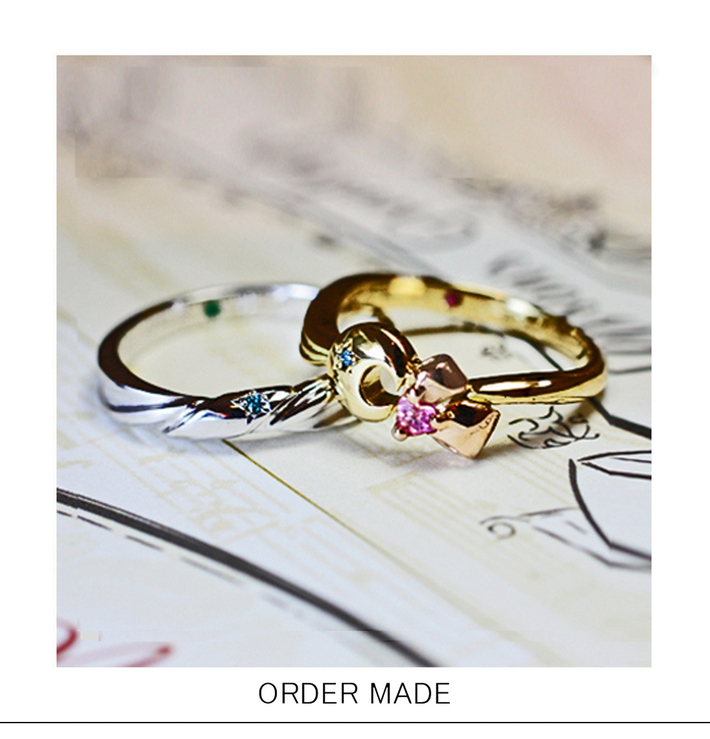 ムーンリボン・  月とリボンをゴールドリングにオーダーデザインした結婚指輪のサムネイル