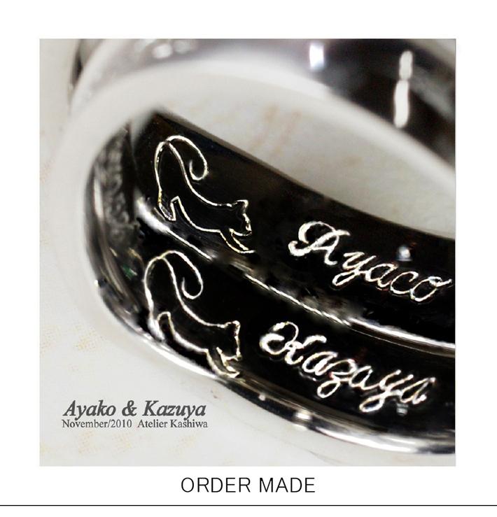 ネコのシルエットを結婚指輪の内側に入れたリングのサムネイル