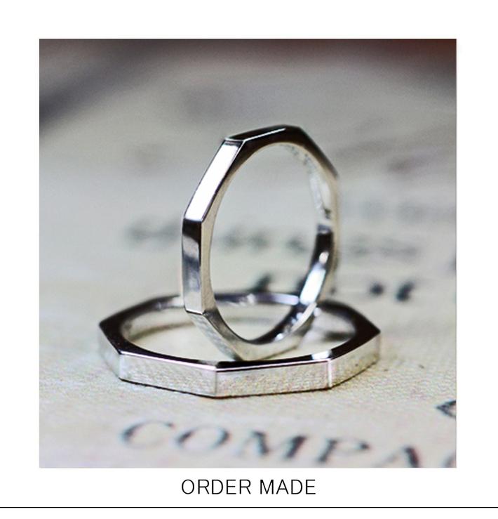 正8角形のプラチナ結婚指輪オーダーメイド作品のサムネイル