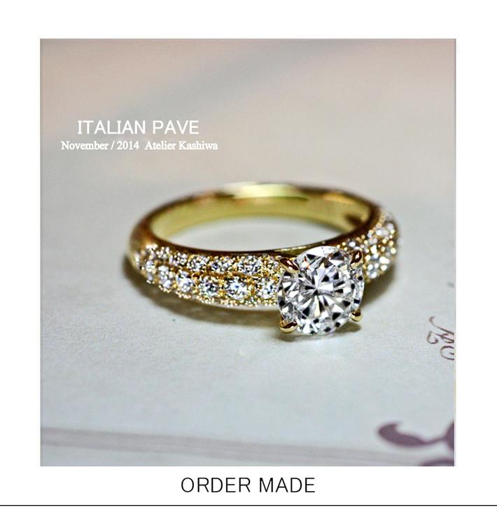ゴールドの豪華なダイヤモンドスタイルの婚約指輪オーダーメイドのサムネイル
