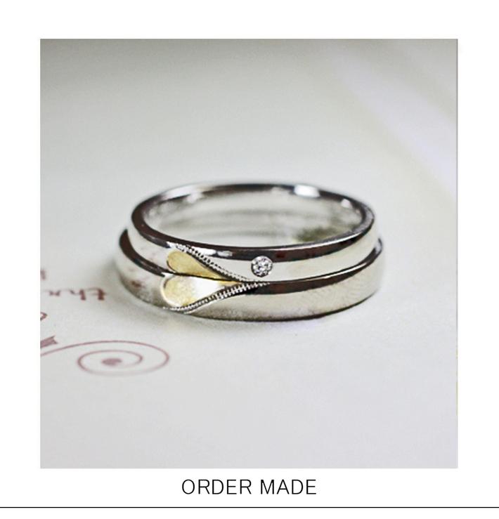 結婚指輪を2本重ねてゴールドのハートをつくるオーダーメイドリングのサムネイル