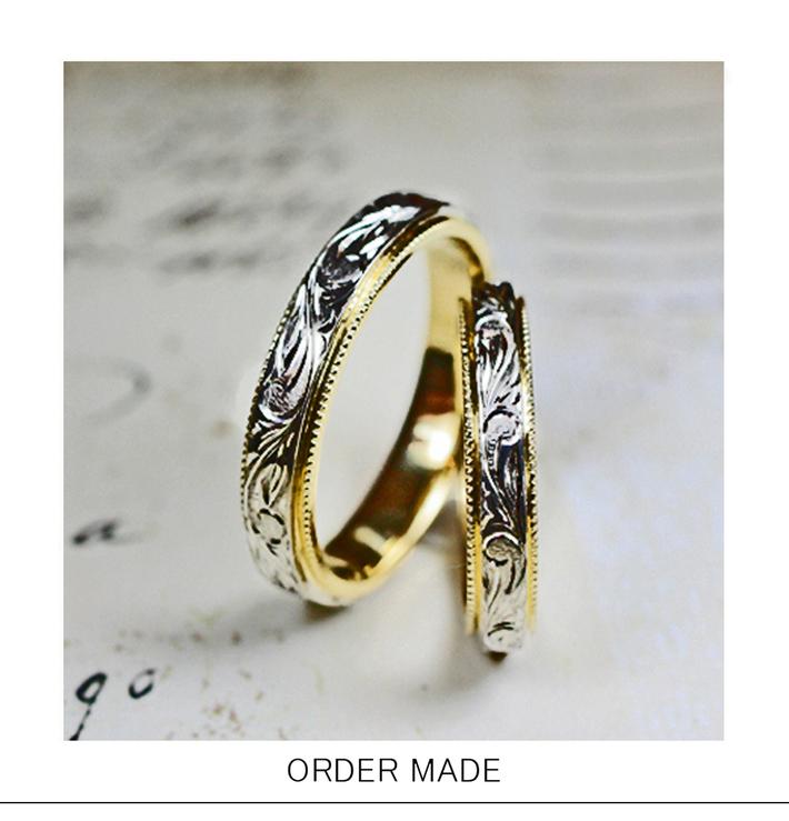 ハワイアン柄を細いコンビリングに入れたオーダーメイドの結婚指輪のサムネイル