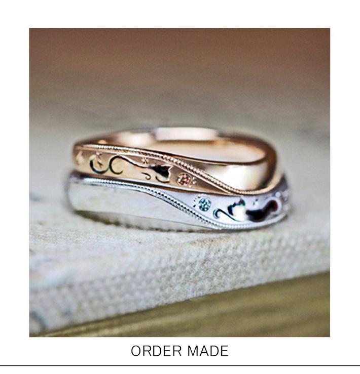 見つめあうネコの柄のピンクゴールドとプラチナのオーダー結婚指輪のサムネイル
