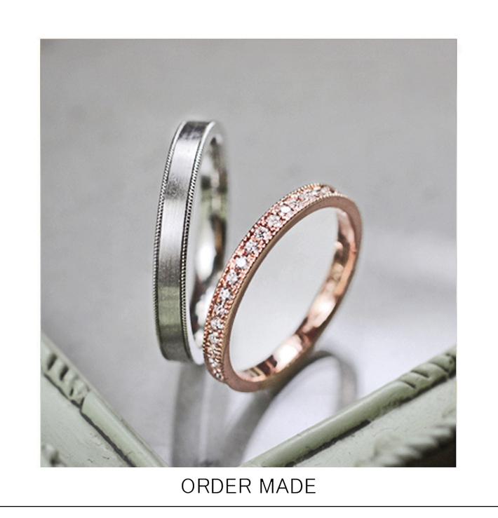 ロゼエタ二ティ・両サイドステッチが入ったピンクゴールドの オーダーメイド・結婚指輪のサムネイル