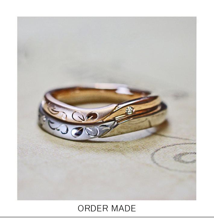 プリザーブドクローバー・リングにクローバーの押し花をデザインした 結婚指輪オーダーメイドのサムネイル