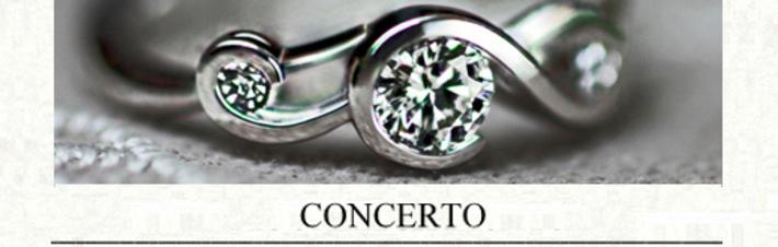 ト音記号をデザインしたプラチナのオーダーメイドの婚約指輪の画像