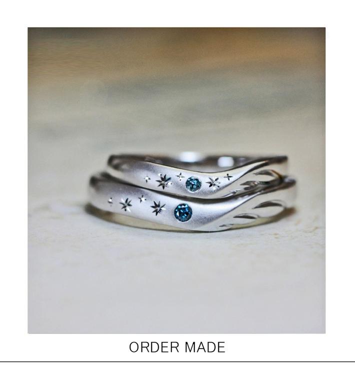 天使の羽に星を表すブルーダイヤモンドが入った結婚指輪。2人の天使は千葉・柏カップルです。のサムネイル