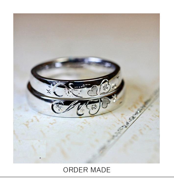 ラブクローバー・2本の結婚指輪を重ねるとクローバーとイニシャルのハートが出来上がるオーダーリング。千葉のカップルのアイデアからのサムネイル