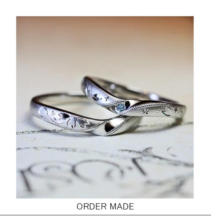 ブルーダイヤモンドとサクラ模様の結婚指輪・・ブルーチェリーのサムネイル