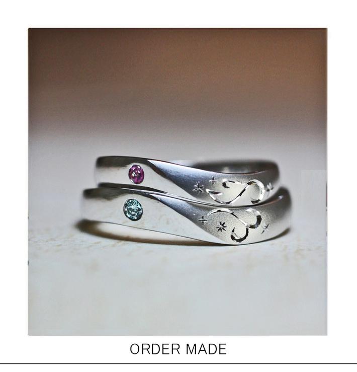 結婚指輪に入れたイニシャルT&Tを重ねてハートを作るオーダー作品のサムネイル