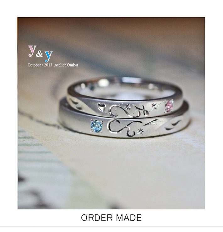 ふたつの結婚指輪でイニシャルを重ねてハートをつくる天使たちのリングのサムネイル