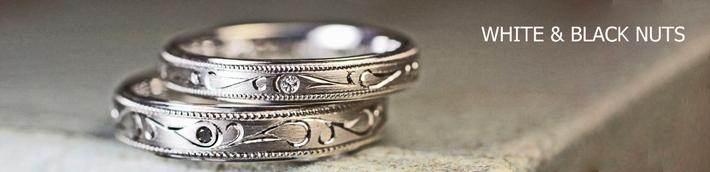 結婚指輪にホワイトダイヤ&ブラックダイヤと柄が輝くリング・茨城、水戸のカップル