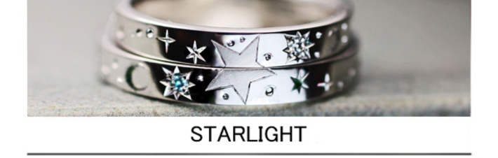 ふたりで結婚指輪につくった満点の星空・オーダーメイドリングの画像