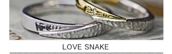 スネークデザインの結婚指輪を個性的にアレンジしたオーダーメイドリングの画像