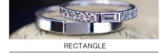 長方形と丸いダイヤをオシャレにセットした、オーダーメイドの結婚指輪エタ二ティリングの画像