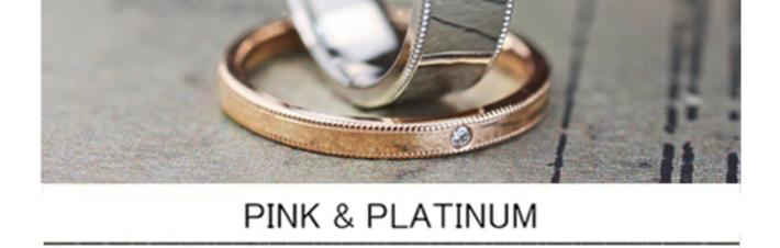 幅広のメンズプラチナと細いレディスピンクのオーダーメイド結婚指輪の画像