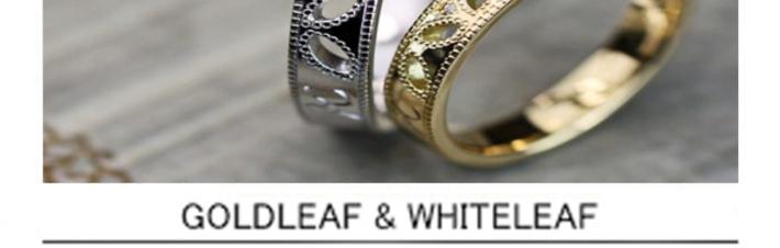 ミルグレインでデザインしたリーフ模様の結婚指輪オーダーメイドの画像