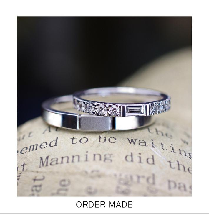 長方形のダイヤモンドを使ったデザインが特徴的なオーダー結婚指輪のサムネイル
