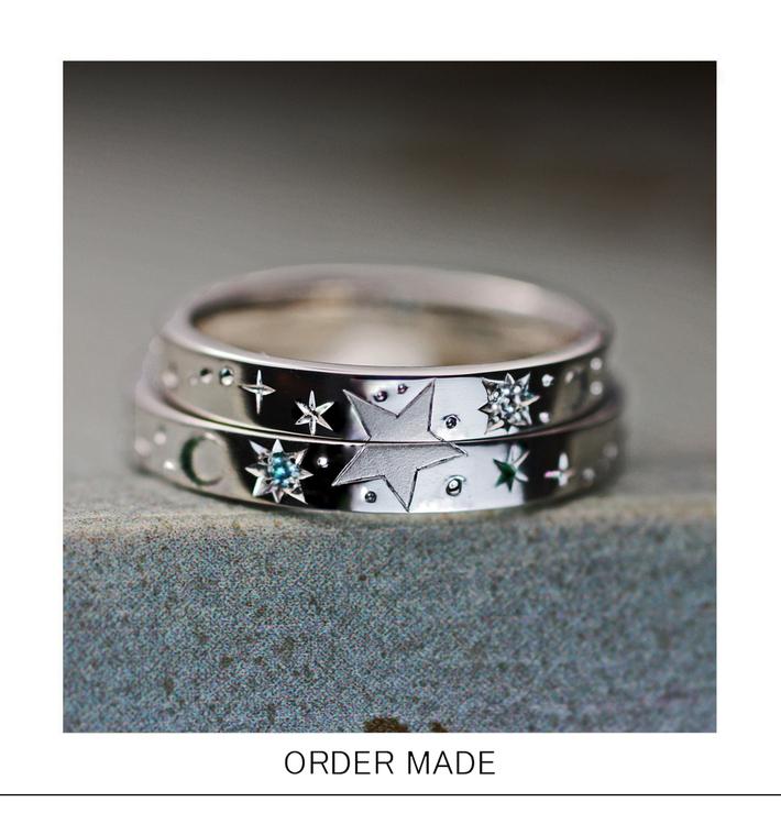 満点の星空の柄を2本の結婚指輪を重ねてつくったオーダーリングのサムネイル