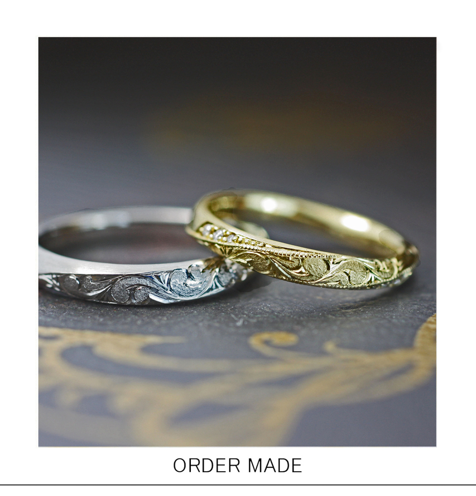 ハワイアン柄をメビウスデザインのリングに入れた結婚指輪オーダーのサムネイル