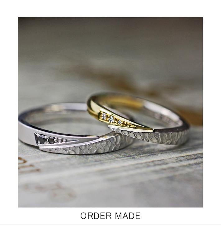 スネークデザインのゴールドとテクスチャーの結婚指輪オーダーメイドのサムネイル
