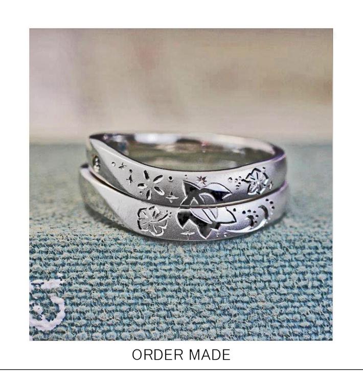 結婚指輪にハワイのウミガメの柄を入れたオーダーメイドリングのサムネイル