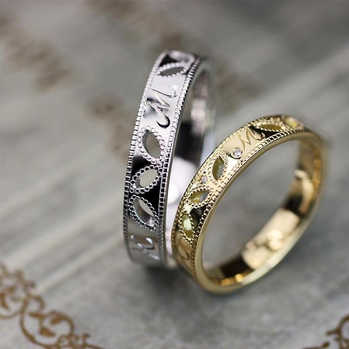 ミルグレインでデザインしたリーフ(葉)模様の結婚指輪オーダーメイドの画像