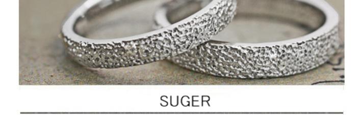 キラキラのシュガーテクスチャーを結婚指輪の表面にオーダーメイドの画像