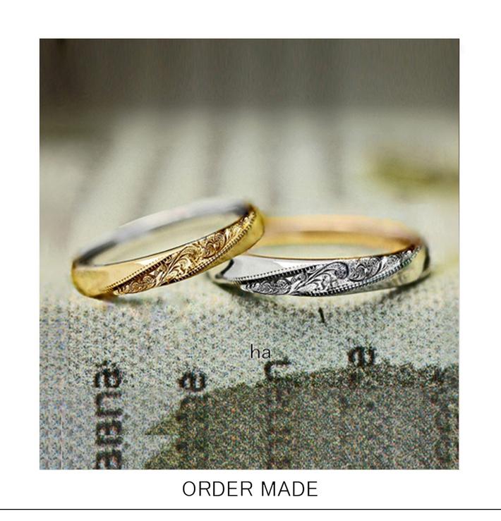 ハワイアン柄が斜めの帯のように入った2カラーのオーダー結婚指輪のサムネイル