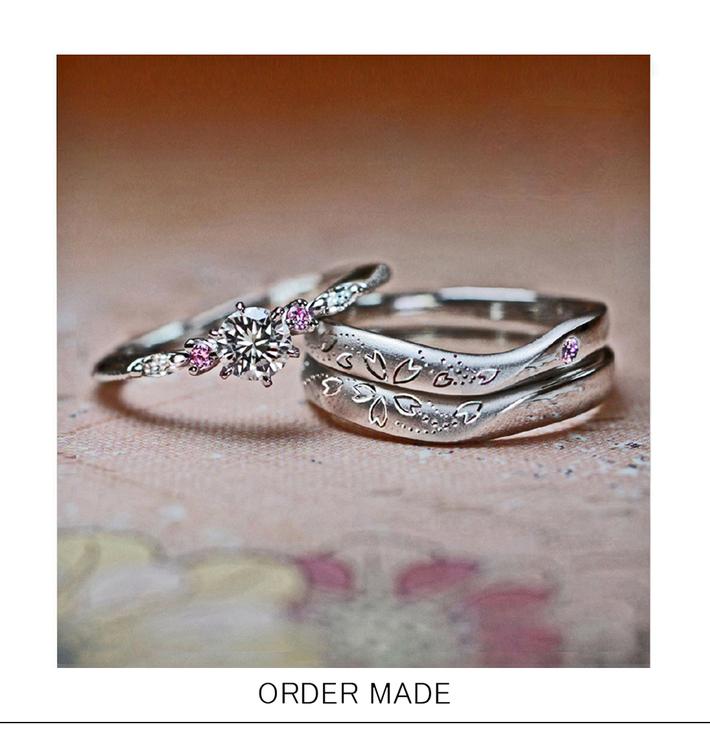 サクラピンクの結婚指輪&婚約指輪のセットリングオーダーメイドのサムネイル