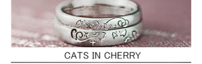 ねことサクラの模様を結婚指輪にデザインしたオーダーメイドリングの画像