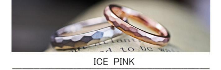 ピンクゴールドの結婚指輪を氷の表面の様にデザインしたオーダー作品の画像