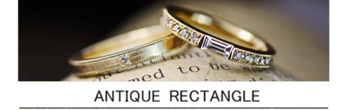 長方形ダイヤを細いゴールドエタニティにセットしたオーダー結婚指輪の画像