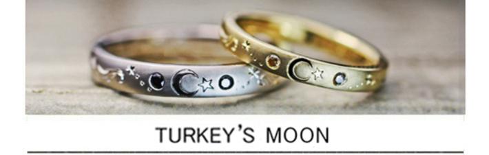 トルコ国旗の月と星の模様を結婚指輪に描いたオーダーメイド作品の画像