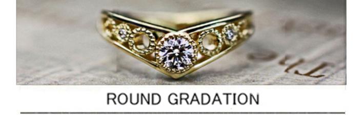 丸いミルをデザインしたアンティークゴールドな婚約指輪オーダー作品の画像