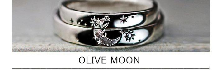 2本重ねて月とサクラ草で飾られた模様をつくる結婚指輪オーダー作品の画像