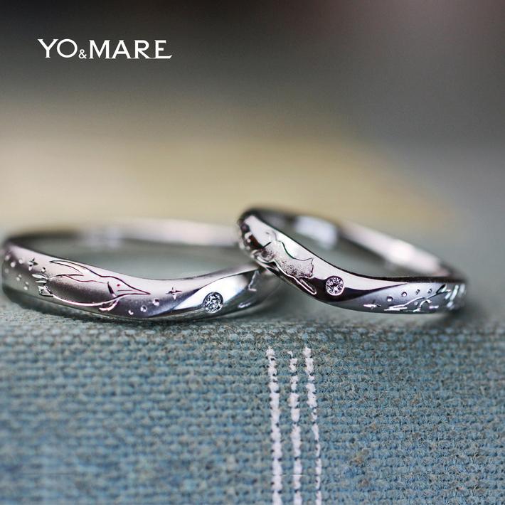 ネコとペンギンの模様を結婚指輪にデザインしたオーダーメイド作品の画像
