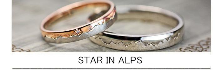 北アルプスをピンクゴールドとプラチナで結婚指輪オーダー作品に表現の画像