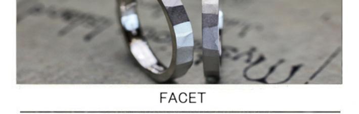 多面体の結婚指輪に艶消しマット加工を施したツチメのオーダー作品の画像