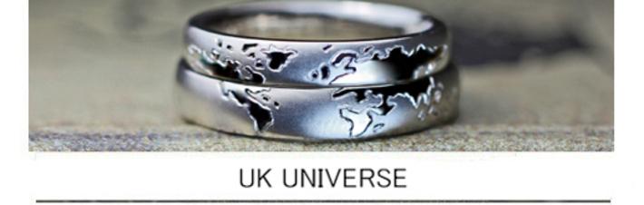 イギリスと日本のカップルがオーダー結婚指輪に描いた欧州の世界地図の画像