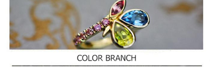 4種類のカラー宝石を使ったゴールドの指輪をオーダーメイドした作品の画像
