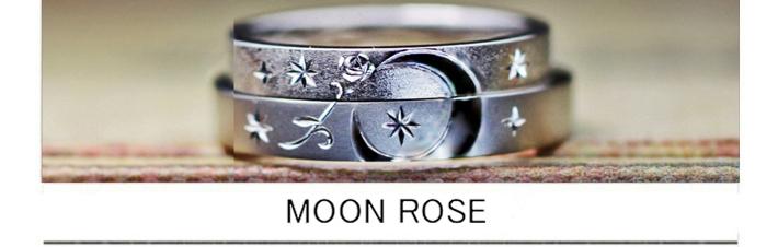 【月と薔薇の模様】を結婚指輪にデザインしたオーダーメイド作品の画像